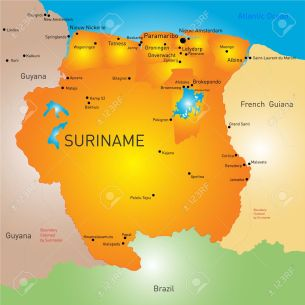 Vector color map of Suriname