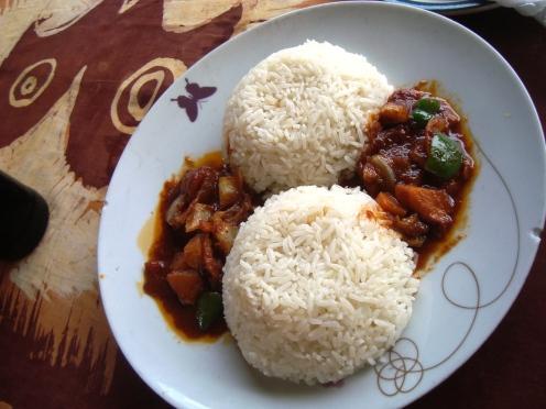 साधा भात आणि स्ट्यू